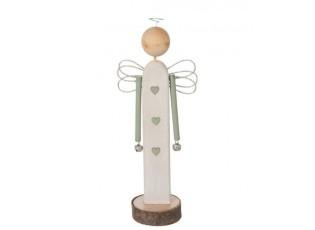 Dřevěný anděl s rolničkami - 10*5,5*28 cm