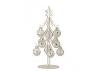 Skleněný stromek se stříbrnými koulemi Baubles Stars  – Ø 10*20 cm