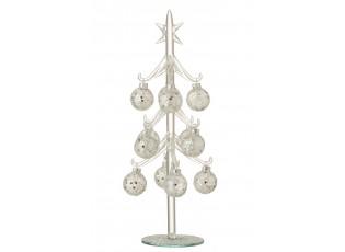 Skleněný stromek se stříbrnými koulemi Baubles Stars  – Ø 12*30 cm
