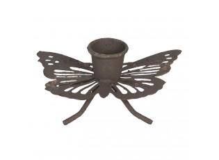 Hnědý rezavý retro svícen ve tvaru motýla - 9*6*4 cm