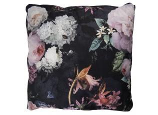 Sametový polštář s motivem květin - 45*45 cm