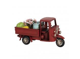 Kovový retro model červená rikša - 16*7*8 cm