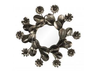 Zrcadlo s kovovým rámem s květinami – Ø 15*2 cm