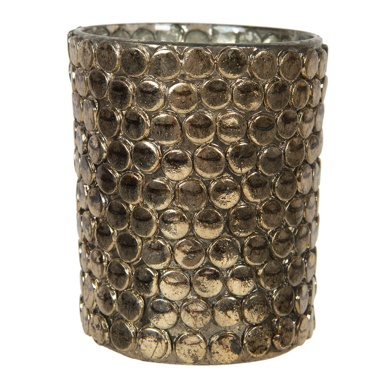 Levně Clayre & Eef Zlatý skleněný svícen na čajovou svíčku Triage - Ø 10*13 cm
