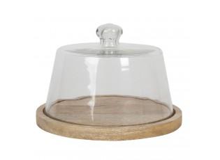 Kulatý dřevěný podnos se skleněným krytem Sylvestre – Ø 22*16 cm