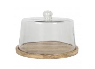 Velký kulatý dřevěný podnos se skleněným poklopem Sylvestre – Ø 30*19 cm
