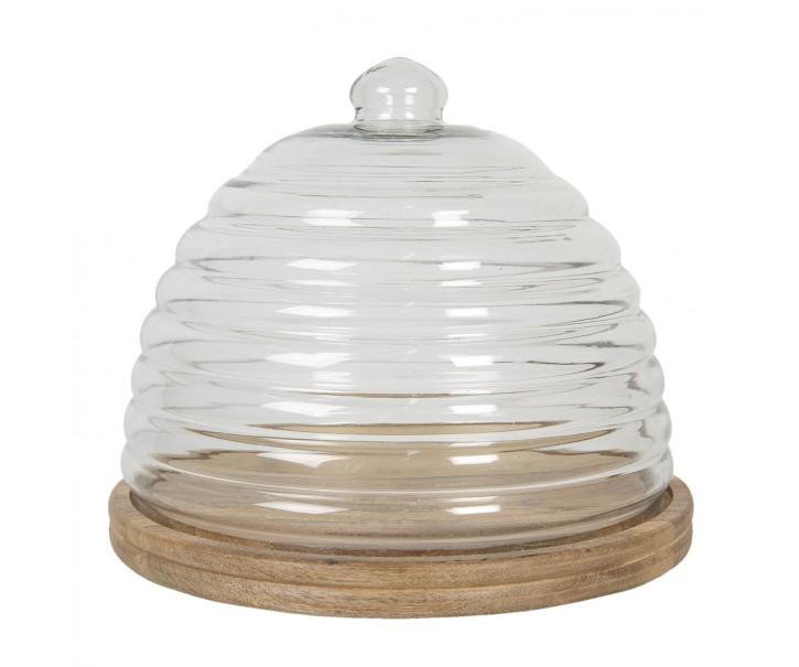 Dřevěný podnos se skleněným poklopem Sylvestre - Ø 32*28 cm
