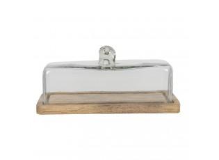 Dřevěný podnos se skleněným poklopem Sylvestre - 29*14*14 cm
