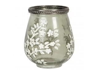 Zelený skleněný svícen s bílými květy  - Ø 9*11 cm