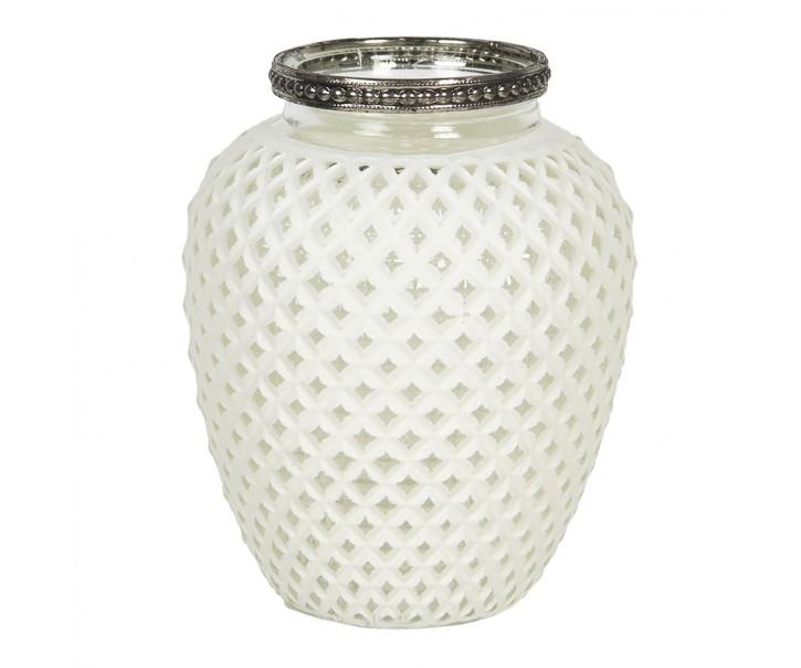 Skleněný svícen na čajovou svíčku se zdobeným stříbrným hrdlem - Ø 10*13 cm