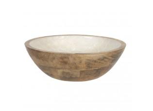 Dřevěná miska s perleťovým vnitřkem - Ø 18*6 cm