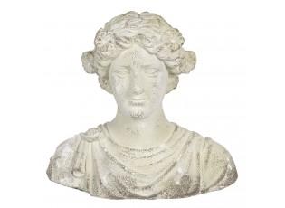 Krémová kameninová busta ženy v antickém stylu Hervé - 40*24*39 cm
