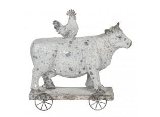 Dekorace krávy a kohoutka na kolečkách - 26*10*24 cm