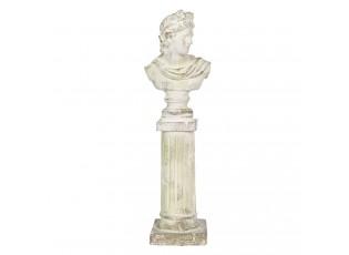 Antická kameninová busta na podstavci Hervé - 17*17*64 cm
