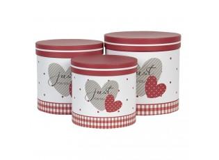 Sada 3 papírových dekoračních krabic se srdíčky - Ø 19*19 / Ø 17*17 / Ø 15*15 cm