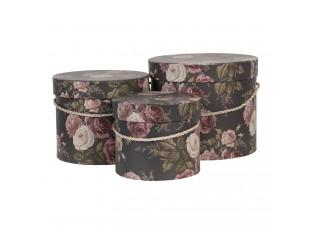 Sada 3ks černých papírových krabic s květy -  Ø 23*19 / Ø 20*17 / Ø 17*14 cm
