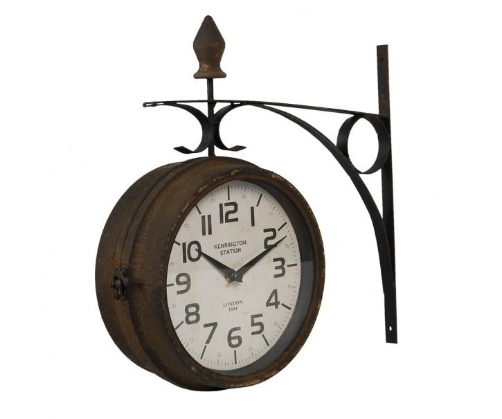Kovové nástěnné hodiny s úmyslným rezem ve vintage stylu - 34*9*33 cm / 1*AA