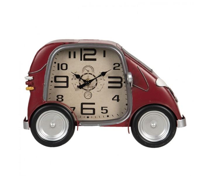 Retro nástěnné hodiny v designu červeného auta - 33*9*21 cm / 1*AA