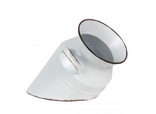 Bílá plechová dekorace rozbitá konvice na mléko  - Ø 17*30 cm