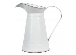 Bílý dekorační plechový retro džbán Tole - 33*19*33 cm