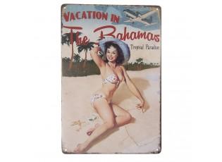Nástěnná kovová cedule Vacation in Bahamas - 20*30 cm