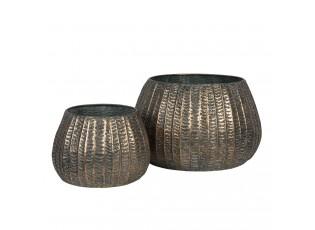 Hnědé dekorativní mísy s patinou (2) - Ø 40*25 / Ø 28*19 cm