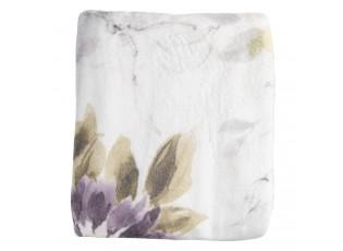 Bílý semišový přehoz s květy magnólie - 130*180 cm