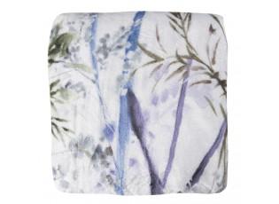 Bílo modrý semišový přehoz s květy - 130*180 cm