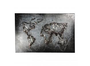 Nástěnná kovová dekorace mapy světa - 120*5*80 cm