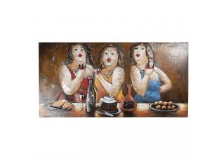 Nástěnná malba tří kyprých hodujících žen - 140*8*70 cm
