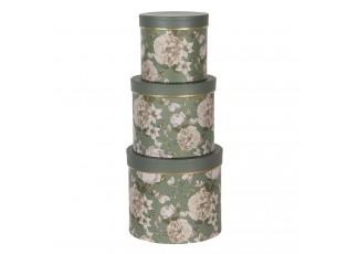 Sada 3ks zelených papírových krabic s květy -  Ø 20*17 / Ø 17*15 / Ø 14*13 cm