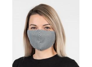 Bílo černá bavlněná rouška na obličej - 13*26 cm