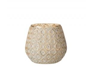Zlatý skleněný svícen s bílou patinou - Ø 10*10cm