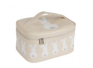 Béžová toaletní taštička s králíčky - 22*16*12cm