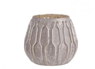 Stříbrný skleněný svícen s patinou - Ø 10*10cm
