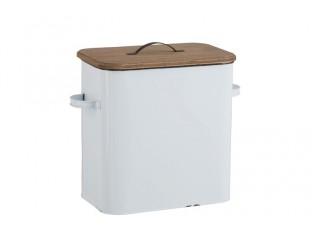 Bílá plechová úložná dóza s dřevěným víkem – 40*20*35 cm