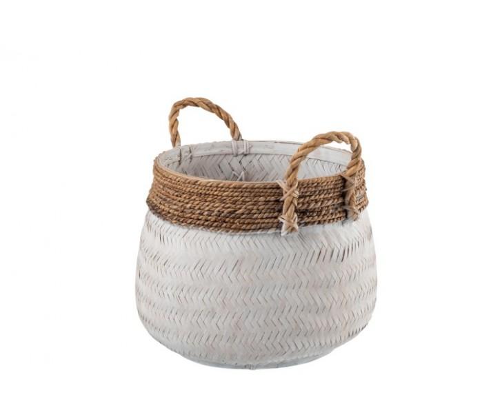 Bílý bambusový košík s uchy Canasta - Ø 39*35 cm