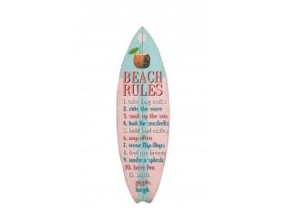 Bílo-růžová dřevěná nástěnná cedule plážová pravidla - 24*1,5*77cm