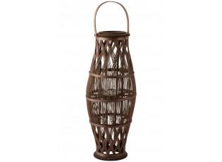 Vysoká hnědá bambusová lucerna Bamboo - Ø 31*80 cm