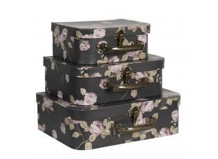 Sada 3 ks černých úložných kufříků s květy - 30*21*9 cm/25*18*9 cm/20*16*8 cm