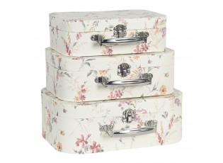 Sada 3 ks úložných kufříků s květy - 27*20*10 cm/25*17*8 cm/22*15*7 cm