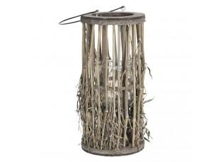 Lucerna se skleněným válcem z bambusových stonků s listy – Ø 18*40 cm