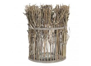 Lucerna se skleněným válcem z bambusových stonků s listy – Ø 21*28 cm