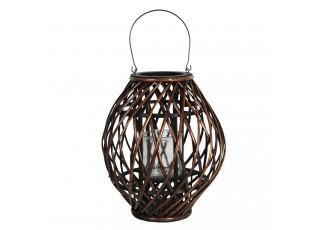 Závěsná hnědá dřevěná lucerna Eudo - Ø 34*41 cm