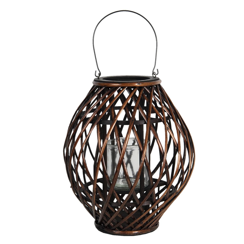 Clayre & Eef Závěsná hnědá dřevěná lucerna Eudo - Ø 34*41 cm