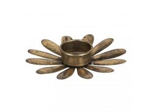 Bronzový kovový svícen na čajovou svíčku ve tvaru květu - Ø 13*2 cm