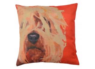 Červený povlak na polštář s psím motivem Psi - 43*43 cm
