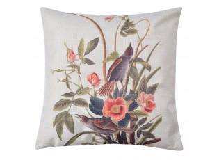 Povlak na polštář s motivem květin a ptáků - 43*43 cm