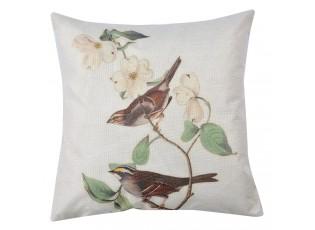 Povlak na polštář s motivem ptáků a květů - 43*43 cm