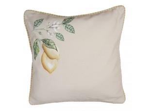Béžový povlak na polštář s motivem citrónů Lemons & Leafs - 40*40 cm
